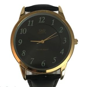Q&Q Men's Watch Gold with Patent Croco Band
